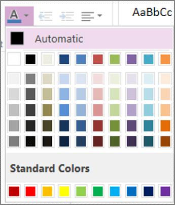 Opsyen menu warna fon dalam OneNote Online.