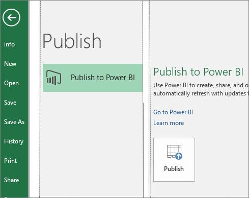 Tab Terbitkan dalam Excel 2016 menunjukkan butang Terbit ke Power BI