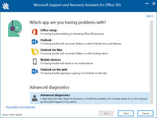 Petikan skrin senario pemilihan skrin yang Support and Recovery Assistant dengan diagnostik lanjutan yang dipilih.