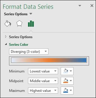 Opsyen warna siri Carta Excel Peta