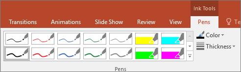 Menunjukkan opsyen gaya Pen dalam Office