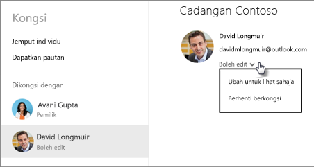 Edit keizinan berkongsi dalam OneDrive