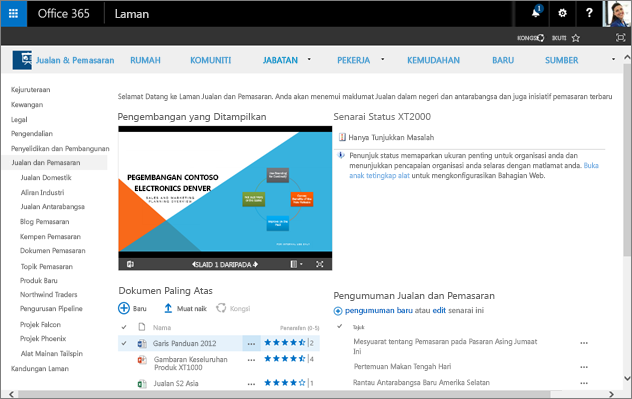 Team sites in Office 365 enable people in organizations to work together