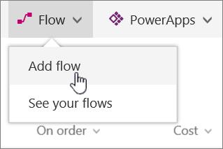 Menu aliran dalam senarai dengan menambah aliran diserlahkan