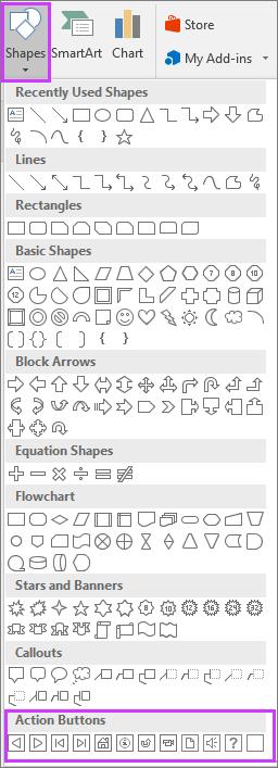 Menunjukkan menu Bentuk pada reben dalam PowerPoint dengan Butang Tindakan diserlahkan