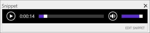 Petikan skrin SharePoint Online dengan audio cebisan kawalan bar menunjukkan jumlah tempoh masa fail audio dan menyediakan kawalan untuk mula dan henti Main fail.
