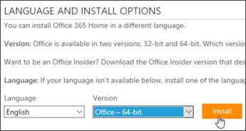 Petikan skrin menunjukkan opsyen Bahasa dan versi dan butang pasang