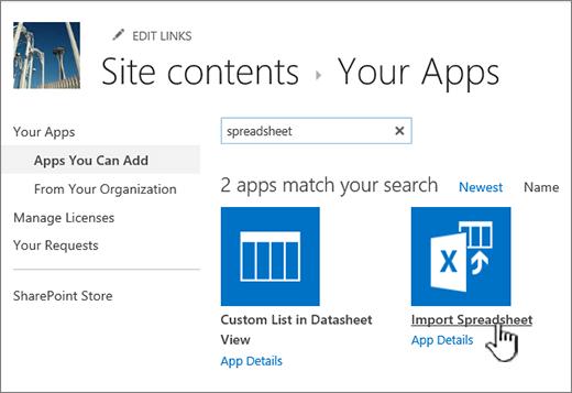 Mengimport aplikasi hamparan yang diserlahkan dalam dialog aplikasi baru