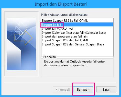Pilih Eksport ke fail