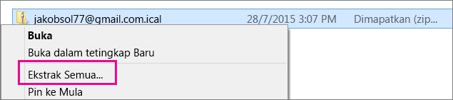 Klik kanan pada fail dan pilih Ekstrak.