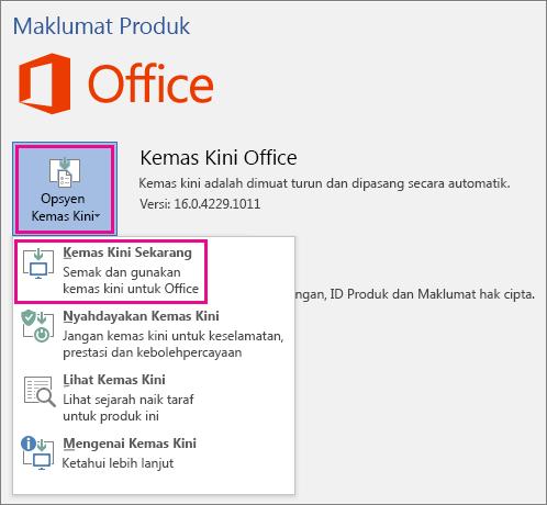 Menyemak untuk kemas kini Office secara manual dalam Word 2016