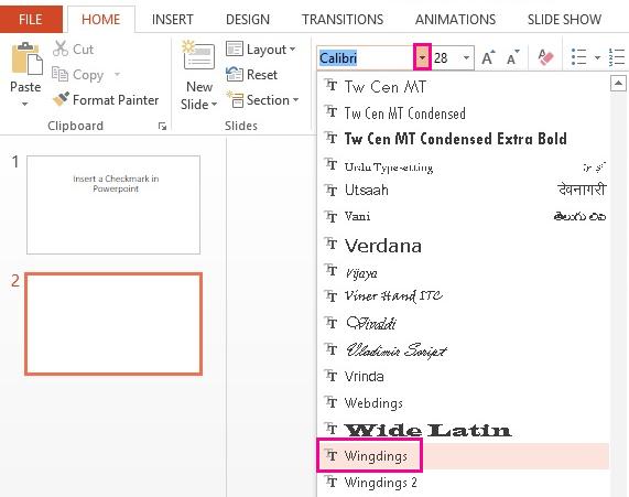 Pada tab rumah, anda boleh menggunakan menu juntai bawah fon untuk mencari fon yang anda inginkan.