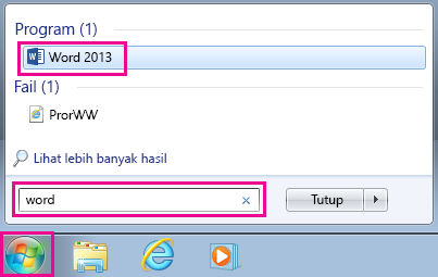 Cari aplikasi Office dalam Windows 7