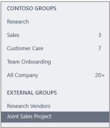 Petikan skrin bagi bar navigasi Yammer menunjukkan bahagian Kumpulan Luaran