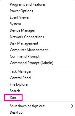 Jalankan perintah selepas klik kanan Mula dalam Windows 8 dan Windows 10