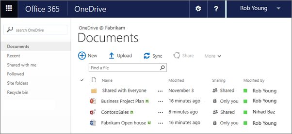 Pustaka OneDrive For Business dalam Office 365