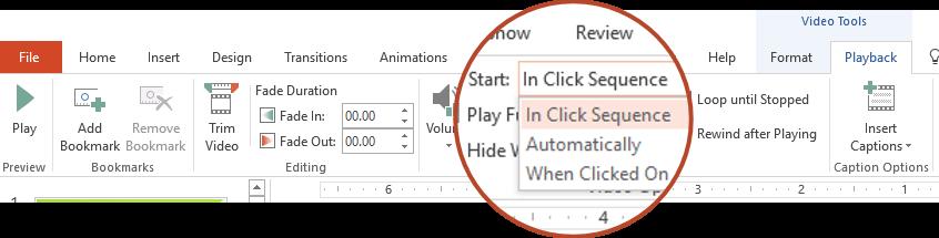 Opsyen main semula video daripada PC anda: dalam klik jujukan, secara automatik atau apabila diklik pada
