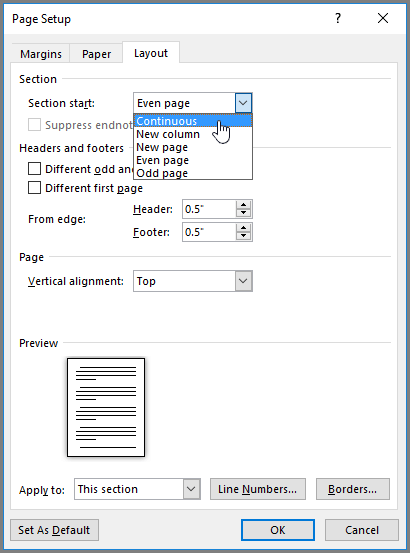 Kotak dialox persediaan halaman mengandungi opsyen persediaan halaman lanjutan.