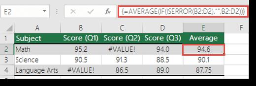 Fungsi tatasusunan dalam purata untuk menyelesaikan #VALUE! Ralat