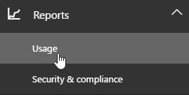 Pada halaman pentadbir pilih laporan dan penggunaan daripada navigasi kiri