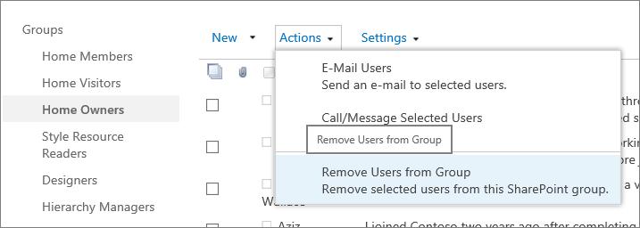 Pandangan bar lancar cepat dengan Kumpulan dan menu tindakan terbuka dengan mengalih keluar pengguna daripada Kumpulan yang dipilih.