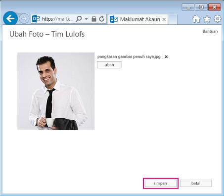 Petikan skrin dialog Ubah Gambar dengan Simpan diserlahkan