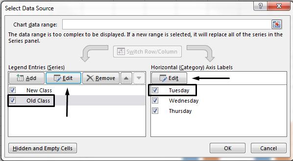 Anda boleh mengedit nama petunjuk dalam kotak dialog Pilih Sumber Data.