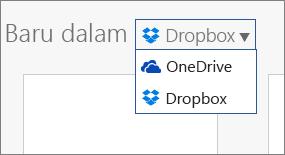 Imej menunjukkan Dropbox ditambah ke tempat yang anda boleh mencipta fail baru dalam Office Online