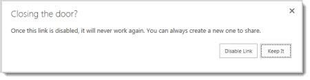 Kotak dialog yang bertanya anda sama ada anda ingin menyahdayakan pautan tetamu untuk dokumen yang telah dikongsi agar ia tidak akan berfungsi lagi.