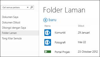 Pilih Folder Laman dalam bar Tindakan Cepat dalam Office 365 untuk melihat senarai laman SharePoint Online anda ikuti.