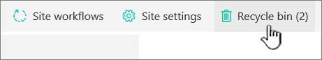 Butang kitar semula halaman kandungan laman SharePoint Online