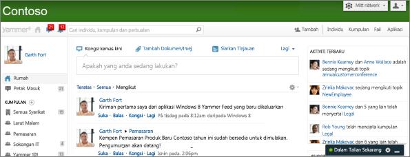 Petikan skrin halaman utama Yammer.com