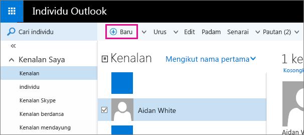 "Petikan skrin bagi bar alat pada halaman Individu Outlook dengan perintah petak bual untuk ""Baru""."