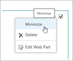 Menu bahagian web dengan Minimumkan diserlahkan