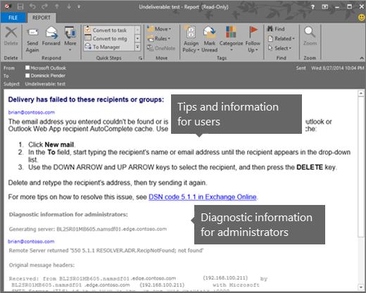 NDR menunjukkan Maklumat Dianogstik Pengguna dan Pentadbir