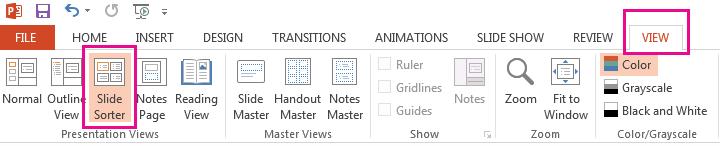 Pada tab Pandangan, klik Pengisih Slaid.