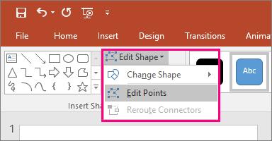 Menunjukkan opsyen Edit titik dalam bentuk menu Edit dalam tab alat melukis dalam PowerPoint.