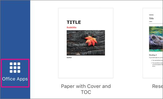 Menunjukkan butang aplikasi Office dalam Office 2016 for iPad