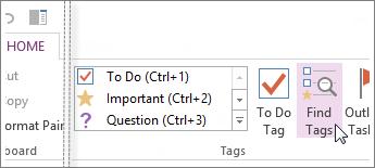 Anda boleh mencari tag menggunakan anak tetingkap Ringkasan Tag dalam OneNote.