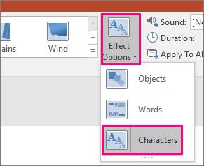 Menunjukkan menu opsyen kesan untuk Morph transisi dengan aksara yang dipilih.