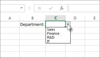Senarai juntai bawah sampel dalam Excel