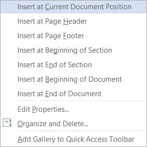 Perintah blok binaan dalam Galeri Jadual pantas