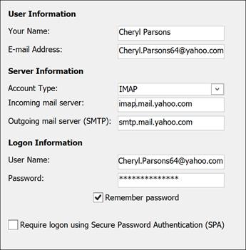 Masukkan maklumat pelayan anda untuk Yahoo