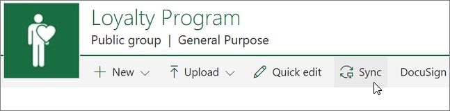Petikan skrin yang menunjukkan butang segerak pada pustaka SharePoint.