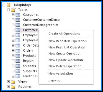 Petikan skrin yang menunjukkan pangkalan data Tailspintoys di SharePoint Designer. Jika anda klik kanan pada nama jadual, menu yang anda boleh pilih operasi mencipta akan muncul.