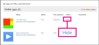 Menyembunyikan aplikasi untuk Office