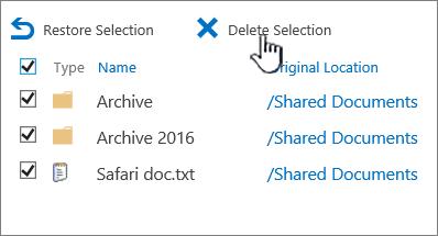 2016 ke-2 aras tong kitar semula SharePoint dengan semua item yang dipilih dan padam diserlahkan