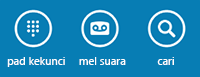Gunakan ikon di bahagian bawah skrin untuk menunjukkan pad dailan, menyemak mel suara atau mencari kenalan