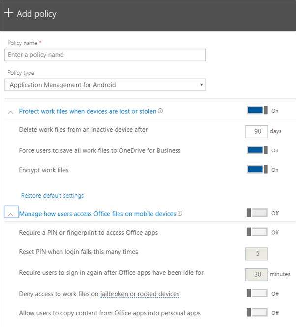 Petikan skrin mencipta dasar dengan pengurusan aplikasi untuk Android dipilih