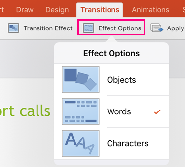Menunjukkan opsyen kesan untuk beralih Morph dalam PowerPoint 2016 for iPad